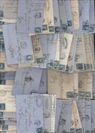 Lot + 100 Lettres YT 22 Napoléon Dentelé X69 YT 29 Lauré X10 Cérès Siège N°37 X5 + N°60 X17 Archive Filature Tissus Soie - 1849-1876: Période Classique