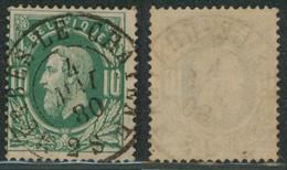 """émission 1869 - N°30 Obl Double Cercle """"Merbes-le-chateau""""  / Collection Spécialisée. - 1869-1883 Leopold II"""