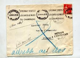 Lettre Flamme Epernay Cave Musee Champagne + Retour - Annullamenti Meccanici (pubblicitari)