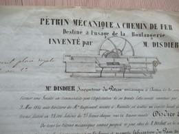 Pub Publicité Pétrin Mécanique à Chemin De Fer Inventé Par Disdier 1854 Ouverture Société - Documents Historiques