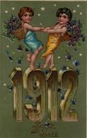 Illustrée Glacée Et Dorée : Anges Aux Violettes . BONNE ANNEE 1912 - Anno Nuovo