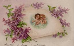 Illustrée  : Anges S'embrassant Dans Un Livre Aux Lilas - Angels