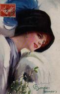 Illustrée Signée Court BARBER . Jolie Femme Au Manchon Et Au Gui - Barber, Court