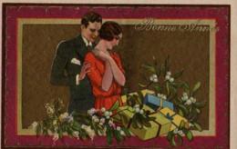 Illustrée Granitée Et Dorée   BUSI :  Couple, Cadeaux, Gui . - 1900-1949