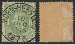 """émission 1869 - N°30 Obl Simple Cercle (DU) """"Moen-Heestert"""" COBA : 30 / Collection Spécialisée. - 1869-1883 Leopold II"""