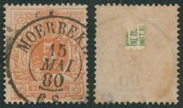 """émission 1869 - N°28 Obl Double Cercle """"Moerbeke"""" (1880). Belle Frappe / Collection Spécialisée. - 1869-1883 Leopold II"""