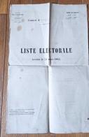Ardèche Vinzieux 1865 Liste électorale Dimension 44 Cm X 28 Cm - Historische Documenten