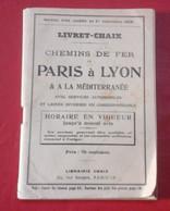 Horaires CHAIX Septembre 1918 PLM Paris Lyon Méditerranée Chemins De Fer Tramways Funiculaires Compagnies Diverses - Europa