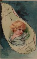 Illustrée Pailletée D'argent . Enfant-fleur  Blond Dans Une Feuille Sur Fond Bleu - Portraits