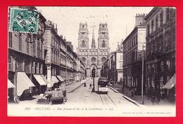 F-45-Orléans-36P45 La Rue Jeanne D'Arc Et La Cathédrale, Animation, Pub PICON Sur Tramway, Cpa BE - Orleans
