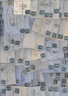 Lot De 100 Lettres Complètes Avec YT 14 Bleu Empire Napoléon ND Archive Société Tissus Filature De Bourre De Soie - 1849-1876: Période Classique