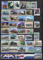JAPON TRAINS  ENSEMBLE DE TIMBRES OBLITÉRÉS Le Scan LOT 24 08 1 - Trains