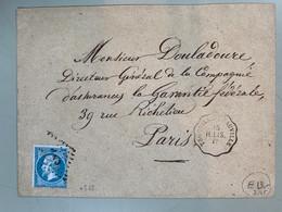 FRANCE Classique 1862: Le Y&T 22, Obl. CNP Trouville Deauville Vers Paris Lettre - 1862 Napoleon III