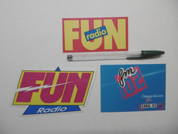 Autocollant - Médias FUN RADIO Canal 102 FM - Lot De 3 Stickers Adhésif Média Radios - Stickers