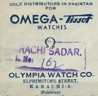 RZ-/-110- SUPERBE & RARE LETTRE PAKISTAN OMEGA-TISSOT De 1954, VIA OMEGA BIENNE SUISSE, VOIR IMAGES POUR DETAILS, - Relojería