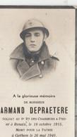 ABL, Armand Depraetere , Né à Renaix Le 18 Octobre 1915 Mort Pour La Patrie à Gothem Le 26 Mai 1940 ,6e Ch à Pied - Overlijden