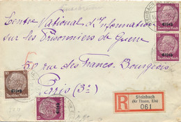 "Alsace HINDENBURG Lettre Recommandée Obl "" STEINBACH ( KR THANN ELS ) 1/4/41 "" Tarif Etrnager 55pf CENSURE Censor - Alsace Lorraine"