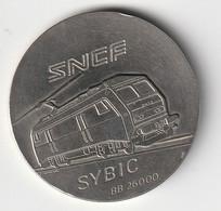 MEDAILLE METAL SNCF SYBIC BB 26000 GRAVEUR GONDARD ? DIAMETRE 42 MM . POIDS 36 GRAMMES - Professionnels / De Société