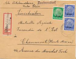 """Alsace HINDENBURG Lettre Recommandée Obl """" WICKERSHEIM ( UNTRE ELS ) 25/11/40 """" Tarif Etranger 55pf CENSURE Censor - Alsace Lorraine"""