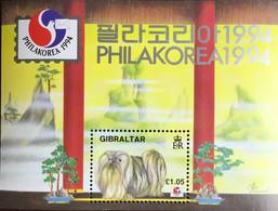 Gibraltar 1994 Philakorea Dogs Minisheet MNH - Dogs