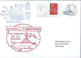 Enveloppe Illustrée Baie D'Along G.E.A.O.M. 2006 2007 Association L Carlesimo Les Enfants De La Jeanne La Réunion 2007 - Scheepspost