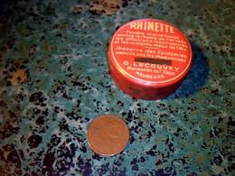 Publicitè Petite Boite En Metal Peint Medicament Rhinette Contre Les Rhumes De Cerveaux ..laboratoire Lecouvey Maubeuge - Scatole