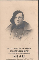 ABL , Henri Sombryn - Blaise , Tombé Au Champ D'honneur Le 19 Mai 1940 , Chasseurs Ardennais ( Imp  Florenville ) - Overlijden