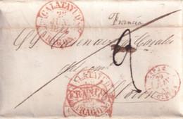 ESPAGNE - 1844 - LETTRE FRANCO ! De CALATAYUD (OREGON) Avec RARE ENTREE Par OLERON 1 ! => OLORON (BASSES PYRENEES) - ...-1850 Voorfilatelie