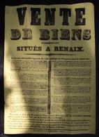AFFICHE 56 X 41 CM  VENTE DE BIENS PATRIMONIAUX SITUES A RENAIX  21 OKT 1839 - ZIE AFBEELDINGEN - Renaix - Ronse