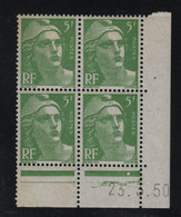 FRANCE  Coin Daté **  Type Marianne De Gandon  5f  Vert Clair  23.3.50  N° Yvert  809  Neuf Sans Charnière - 1940-1949