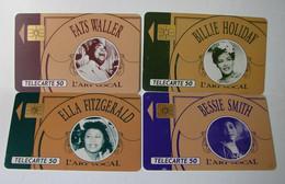Lot. 1703. Quatre Télécartes De L'art Vocal. Billie Holyday, Fast Waller, Ella Fitzgerald, Bessie Smith - Musica