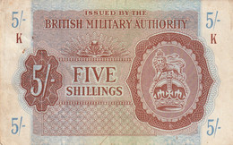 Btritish Milittary Authority  5shillings , 2 Trous Pas De Pli Des Salisures - British Military Authority