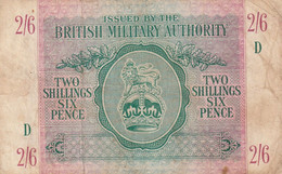 Btritish Milittary Authority  Two Silling Six Pence Des Trouds Des Plis - British Military Authority