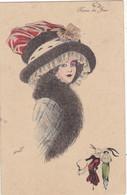 """CARTE FANTAISIE. CPA. ILLUSTRATION XAVIER SAGER. FEMME."""" REINE DU JOUR """". COIFFURE. MODE. ANNEE 1915 + TEXTE - Sager, Xavier"""