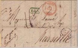 Belgien/Frankreich - Liege 1843 + Ra1 B4R Portobrief N. Marseille - Unclassified