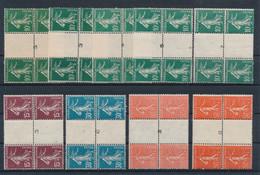 EC-910: FRANCE: Lot Avec Semeuses En Blocs De 4**avec Pont Avec Charnière ( Pont Numérotés) - 1906-38 Semeuse Con Cameo