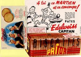 Lot De 3 Buvards. Toast Hollandais, Biscottes Prior, Pâtes Edelweiss. - Collections, Lots & Series