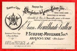 """Ancienne CARTE DE VISITE """" MOUILHADE-VALLON """"  (BRIOUDE)  (Voir Photo Et Détail) - Visiting Cards"""