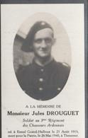 ABL, Jules Drouguet , Né à Ennal , Grand Halleux Le 21 Août 1915 Pour La Patrie à Thourout Le 26 Mai 1940 , 3e Chasseurs - Overlijden