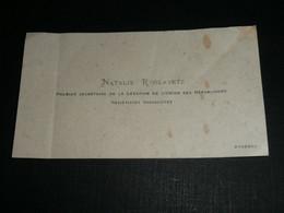 Archives Roger Labonne 1er Commandant LVF, Carte De Visite, CDV Début XXe, Natalie ROSLAVETZ, URSS U.R.S.S. - Visiting Cards