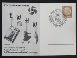 """Deutsches Reich 1939, Postkarte PP122 """"1.WHW"""" ASCHAFFENBURG Sonderstempel - Storia Postale"""