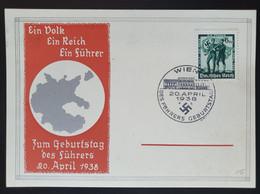 """Deutsches Reich 1938, Postkarte """"Geburtstag Des Führers"""" WIEN Sonderstempel - Storia Postale"""