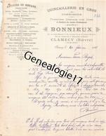 58 0521 CLAMECY NIEVRE 1911 Quincaillerie BONNIEUX Rue Grand Marche Claude Tillier Abreuvoir Boulevard Brinon Impasse Me - 1900 – 1949