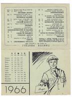 CARD  CALENDARIETTO DEL PORTALETTERE 1966 CON TARIFFE POSTALI 2 SCANNER   -2-0882-30144-143 - Small : 1961-70