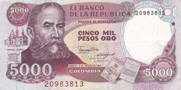 BILLETE DE COLOMBIA DE 5000 PESOS DE ORO DEL AÑO 1987 (BANK NOTE) - Colombie