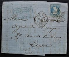 Paris Rue Du Helder 1867 Félix Beauvisage, Succ De Maxime Wey, Oblitération étoile 22, Pour Lyon - 1849-1876: Periodo Clásico