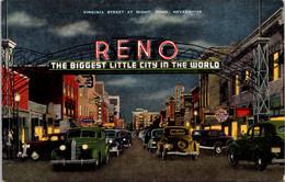 Nevada Reno Virginia Street And Welcome Arch At Night - Reno
