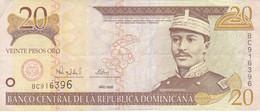 BILLETE DE REP. DOMINICANA DE 20 PESOS ORO DEL AÑO 2000 SERIE BC EN CALIDAD MBC (VF) (BANKNOTE) - Dominicana
