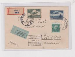CZECHOSLOVAKIA  1938 KOSICE Registered Airmail  Cover To Yugoslavia - Brieven En Documenten