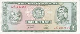 BILLETE DE PERU DE 5 SOLES DE ORO DEL AÑO 1974 CALIDAD EBC (XF) (BANKNOTE) - Peru